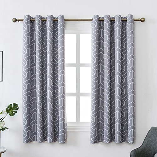 MYSKY HOME Grey Blackout Curtains Set of 2 for Living Room by Geometric Lines Design Printed Blackout Thermal Insulated Drapes for Bedroom (Grey, 52 Inch Width by 63 Inch Length, One Pair)