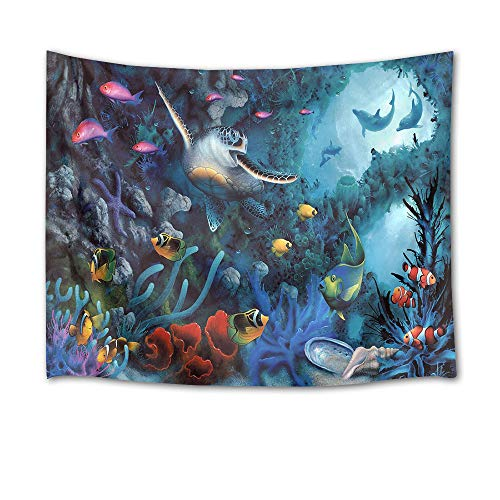 (HVEST Sea Turtle Tapestry Tropical Fish Dolphins and Coral Reef in Deep Sea Wall Hanging Underwater Animal Tapestries for Kids Bedroom Living Room Dorm Decor Birthday Party Background,80Wx60H inches)