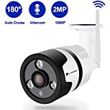 Luowice Wireless Security Camera Outdoor 1080P WIFI IP Camera 180 Degree Fisheye Panoramic Surveillance Video Camera Night Vision 50ft Waterproof