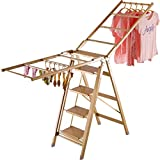 Wing-type Folding Drying Rack, Four-step Ladder Household Flip-flops, Multifunctional Indoor Drying Rack, Aluminum Alloy-L206cm W87cm H110cm, Load-bearing 150kg ( Size : Five steps )