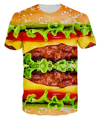 Loveternal Mens Junkfood Tees Funny Food Hamburger T-Shirts 3D Graphic Print Tees 90S Guy Crew Neck Humorous Surf T Shirts Theme Party Novelty Lettuce Short Sleeve T Shirt S