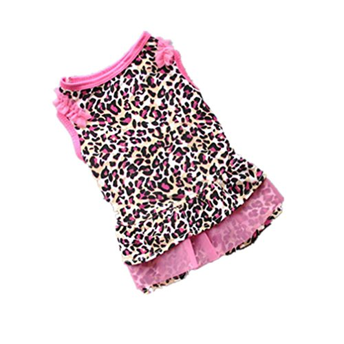 Minisoya Cute Leopard Dress Pet Puppy Dress Small Dog Cat Pet Clothes Apparel (Pink, XS)