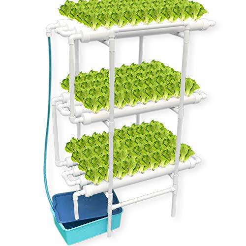 WePlant Hydroponics Nft System with 108 Holes Kits,Vertical Hydroponics PVC Pipe Plant Vegetable