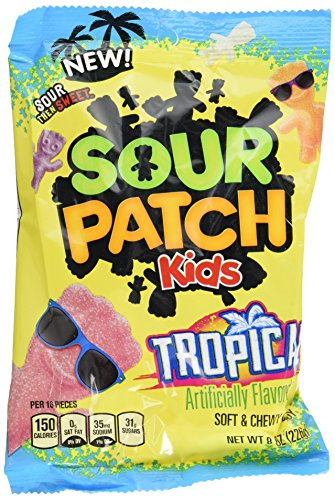 Sour Patch Kids Sweet and Sour Gummy Candy, Tropical, 8 Ounce (Pack of 12) ()