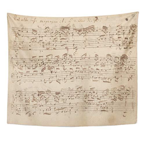 Semtomn Tapestry Artwork Wall Hanging Historic Music Notes Bach Sheet Vintage Piano Sebastian 50x60 Inches Home Decor Tapestries Mattress Tablecloth Curtain Print]()