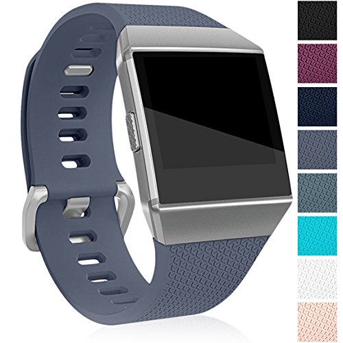 Maledan Bands Compatible with Fitbit Ionic, Classic Replacement Accessories Sport Wristbands for Fitbit Ionic, Gray, Large