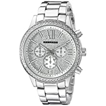 Rampage Women's 'Glitter Face' Quartz Metal and Alloy Automatic Watch, Color:Silver-Toned (Model: RP1106SL)