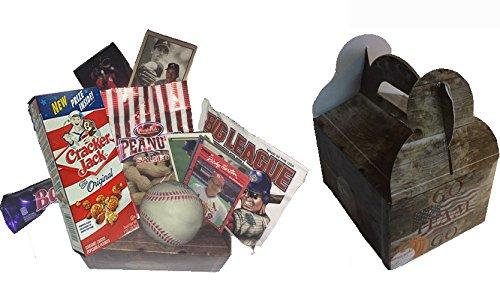 Baseball Handout Gift Set - Great Gift Box / basket for any baseball lover or baseball event. Comes in Retro Looking Baseball Box.