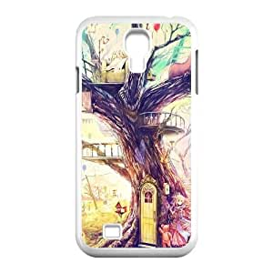 Samsung Galaxy S4 9500 Cell Phone Case White_Painting Girl Animal Tree Asyfo