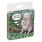 Tree-Free Greetings Set Of 4 Cork-Backed Coasters, 3.75 x 3.75 Inches, Pig In Shitakes Themed Animal Art (52540)