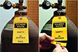 """3-Part Gas Cylinder Status Tag with, Colored 13pt Cardstock Tag, 100 Tags/Pack, 3.125"""" x 6.25"""" by XpressTags"""