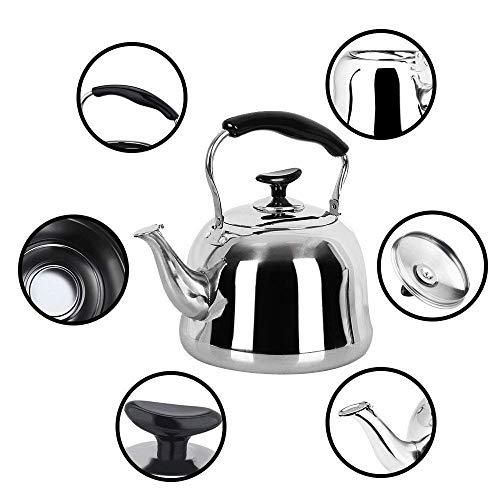 Tea Kettle Stovetop Teapot Stainless Steel Hot Water Kettle Whistling - Mirror Finsh,Folding Handle, Fast To Boil, 2 Liter Whistling Teakettles by Weftnom (Image #4)