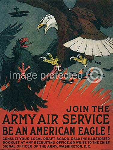 AGS - Be an American Eagle Vintage World War One WW1 WWI USA Military Propaganda Poster - 24x36