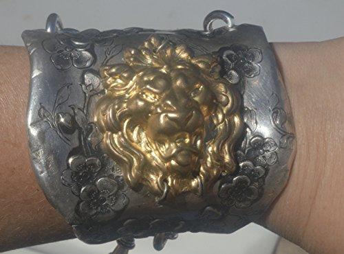 Antique Victorian Silver Art Nouveau Handmade Cuff Bracelet Brass Renaissance Baroque Floral Medieval Lion Steampunk Spartan Statement Chivalry (Brass Silverplate)
