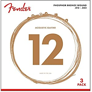 Fender Phosphor Bronze Acoustic Guitar Strings 12-53 (3-Pack)