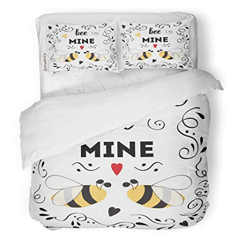 Semtomn Decor Duvet Cover Set King Size Romantic Inspirational Quote About Love for Valentines Day Save The Date Bee Honey 3 Piece Brushed Microfiber Fabric Print Bedding Set -