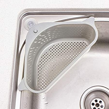 Sink Strainers Basket Drain Shelf Sink Storage Holder with Suction Cup for Kitchen Bathroom Support Corner Rack 2 Pack Gray