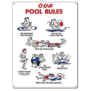 Poolmaster 41337our pool rules animation sign - Residential swimming pool regulations ...