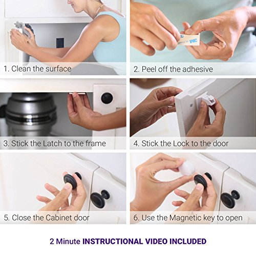 Magnetic Baby Safety Locks for Cabinets & Drawers - Baby Proof & Easy Install - No Screws or Drilling - 8+2 Set by Purple Safety (Image #3)