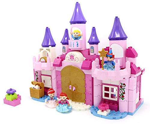 Princess Fantasy Castle Building Bricks Set for Girls with 130 Pc Including Princesses, Treasure Chest and Toy - Block Princess