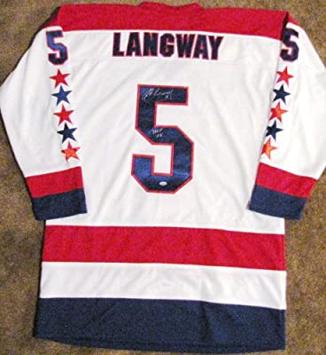 Rod Langway Autographed White Custom Jersey - Washington Capitals - HOF 02 Insc