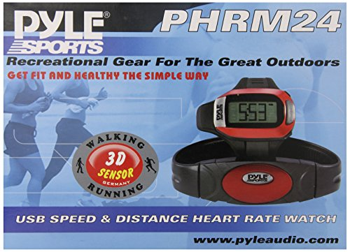 Smart Fitness Heart Rate Monitor - Digital Sports Wrist Watch Activity Exercise Running HR Tracker w/ Chest Belt Strap, USB Link, Pedometer, LED Backlight, Alarm, For Men and Women - Pyle PHRM24