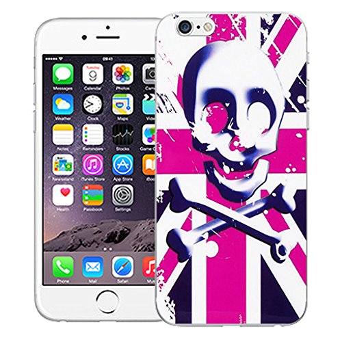"Mobile Case Mate iPhone 6S 4.7"" Silicone Coque couverture case cover Pare-chocs + STYLET - Pink Skull Flag pattern (SILICON)"