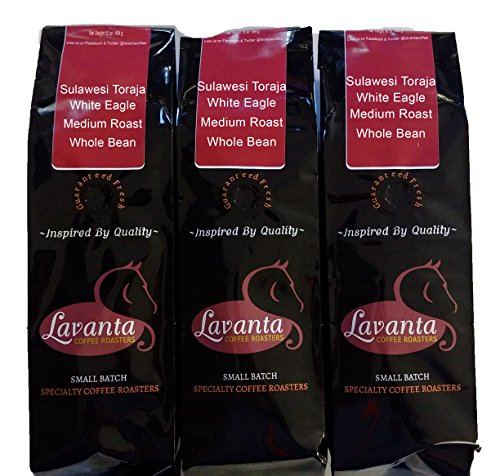 Lavanta Coffee Roasters, 3 Pack Sulawesi Toraja White Eagle Medium Whole Bean
