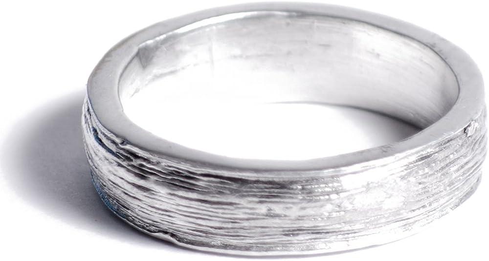 versione inglese con iscrizione Ten years Anello di stagno per il decimo anniversario di matrimonio da uomo effetto ruvido ; modifica della taglia gratuita