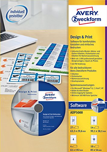 Avery Zweckform ADP5000 Design & Print Software Vollversion