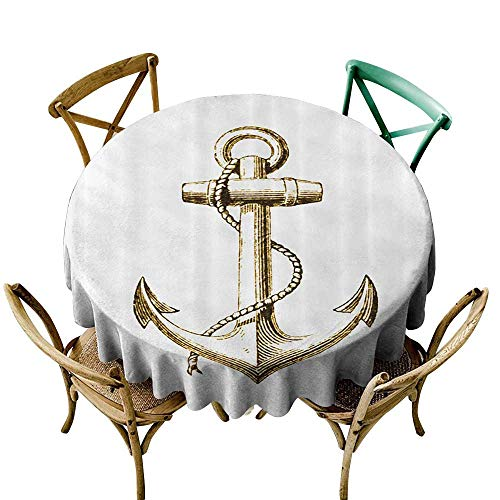 Jbgzzm Round Tablecloth Nautical Decor Gold Foil Anchor Image Be Safe and Grounded Voyage Journey Adventure Fisherman Image Washable Tablecloth D43 Gold ()