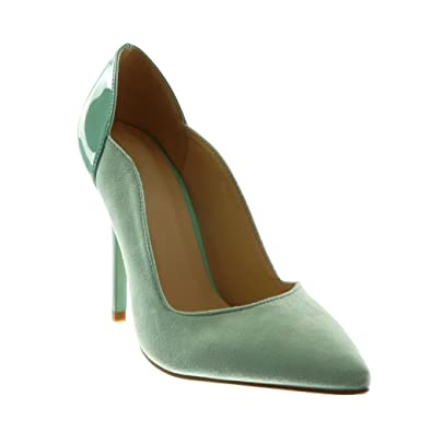 3b3a97a5dde Angkorly - Chaussure Mode Escarpin bi-matière Stiletto Femme Verni Talon  Haut Aiguille 11 CM