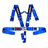 Tanaka SFI 16.1 Latch and Link 5-Point Safety Harness Set with Ultra Comfort Heavy Duty Shouder Pads (Blue)