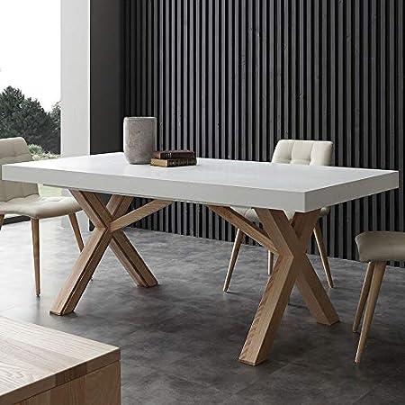 Nouvomeuble Table A Manger Extensible Bois Et Blanc Hestia Amazon