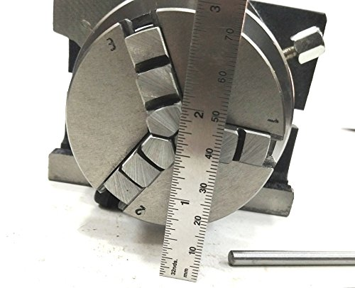 3'' Inches/80 mm Rotary Table & 65 mm 3 Jaws Self Centering Chuck+ steel Back Plate+ 3x M6 T-nuts Bolts-Metalworking, Engineering Indexing Milling Kit by Global Tools (Image #6)