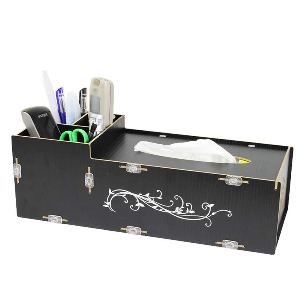 GaoJinZhuan Europäische Heißprägen Technologie Tissue Box Holz Mode Couchtisch Desktop Fernbedienung Multi-Format Aufbewahrungsbox (Farbe   SCHWARZ) B07MNWCPYM | Gewinnen Sie das Lob der Kunden