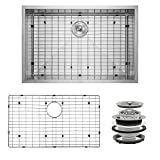 Perfetto Kitchen and Bath 33'' x 22'' x 9'' Handmade 18 Gauge Stainless Steel Undermount Single Basin Kitchen Sink w/ Dish Grid & Drain