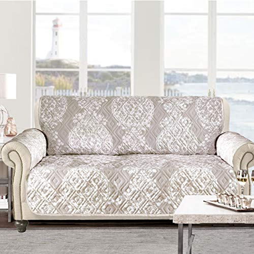 - DriftAway Samantha 100% Waterproof Furniture Protector Quilted Loveseat Cover Couch Slipcover Perfect for Kids,Pet,Cat,Dog,Medallion Floral Pattern Slip Cover Machine Washable- Natural (Loveseat)