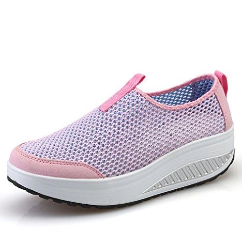 Damen Sportschuhe Mesh Atmungsaktiv Freizeitschuhe mit Plateau Laufschuhe Dicke Sohle Leichtgewicht Fitnessschuhe Pink