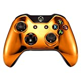 Cheap eXtremeRate Chrome Mirror Orange Front Housing Shell Faceplate for Standard Xbox One Controller (Fits Both with 3.5mm Port and without 3.5 mm Port)