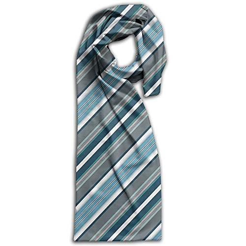 Diagonal Stripe Scarf - Womens Warm Winter Infinity Scarves Set Scarves Polyester Scarf - Navy Retro Style Diagonal Stripes Scarf