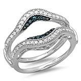 0.50 Carat (ctw) 10K White Gold Round Blue & White Diamond Wedding Guard Double Ring 1/2 CT (Size 5)