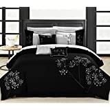 Chic Home Pink Floral 8-Piece Embroidered Comforter Set, Queen, Black/White