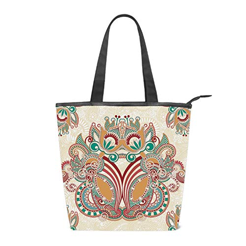 Women's Canvas Shoulder Tote Handbag, Ornamental Floral Paisley Bandana Travel Handbags for Shopper, Daily Purse Tote Bag ()