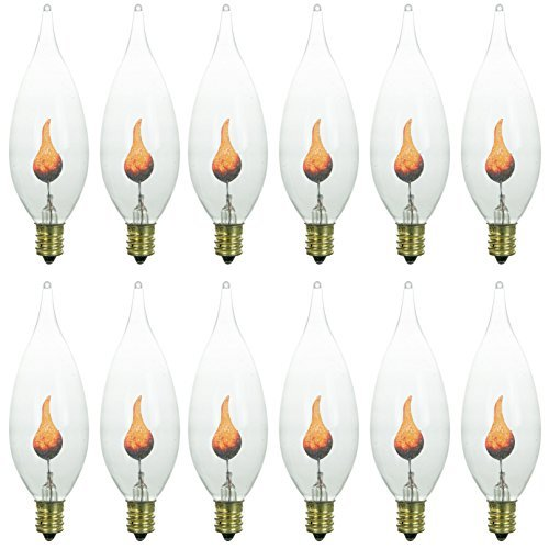 Sunlite 3CFC/12PK 3W Halloween Incandescent Chandelier Flickering Flame Light Bulbs with Candelabra E12 Base and Crystal Clear Bulb by Sunlite