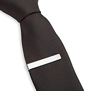 Tie Bar Clip, Skinny Narrow and Wide - Gift Boxed by Puentes Denver (1.9 Inch Brushed Silver)