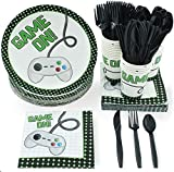Disposable Dinnerware Set - Serves 24 - Video Game Themed Party Supplies for Birthdays, Game Nights, Game On Controller Design, Includes Plastic Knives, Spoons, Forks, Paper Plates, Napkins, Cups