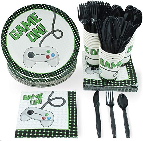 Price comparison product image Disposable Dinnerware Set - Serves 24 - Video Game Themed Party Supplies for Birthdays,  Game Nights,  Game On Controller Design,  Includes Plastic Knives,  Spoons,  Forks,  Paper Plates,  Napkins,  Cups