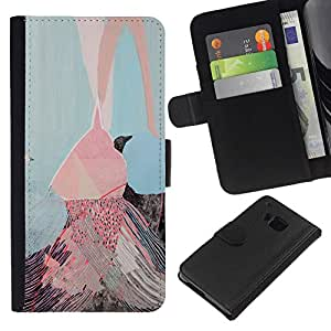 All Phone Most Case / Oferta Especial Cáscara Funda de cuero Monedero Cubierta de proteccion Caso / Wallet Case for HTC One M9 // Pink Ice Cream Painting Art