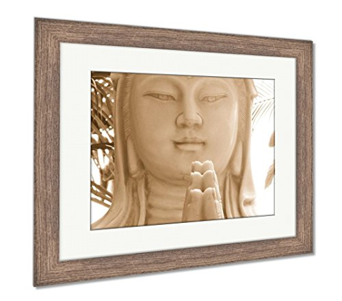 Ashley Framed Prints The Chinese Goddess of Compassion, Wall Art Home Decoration, Sepia, 26x30 (Frame Size), Rustic Barn Wood Frame, AG5265130 ()